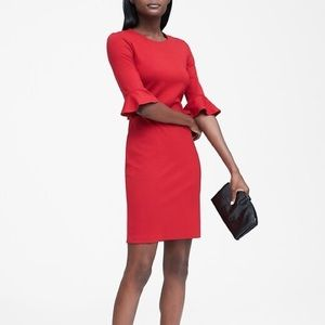 Banana Republic Ponte Ruffled Sleeves Red Dress